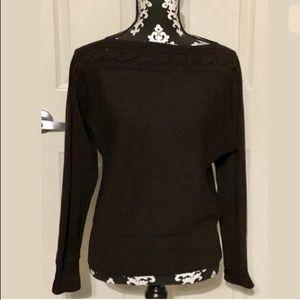St. John Sport dark brown off shoulder sweater